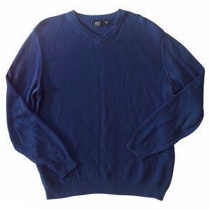 Hugo Boss Men's Cotton V-neck Sweater Blue XXL